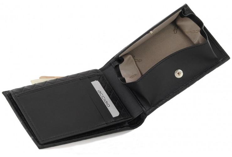 Herren Brieftasche mit münzfach Wiener Schachtel und klappe aus geflochten  leder Schwarz
