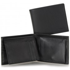 Men's wallet with flap coin and 4cc leather Black