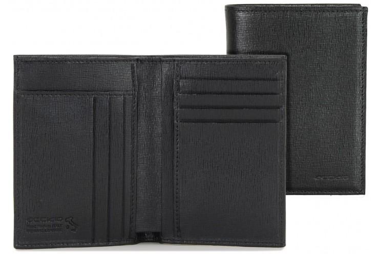 Portafoglio verticale 7cc in pelle saffiano Nero