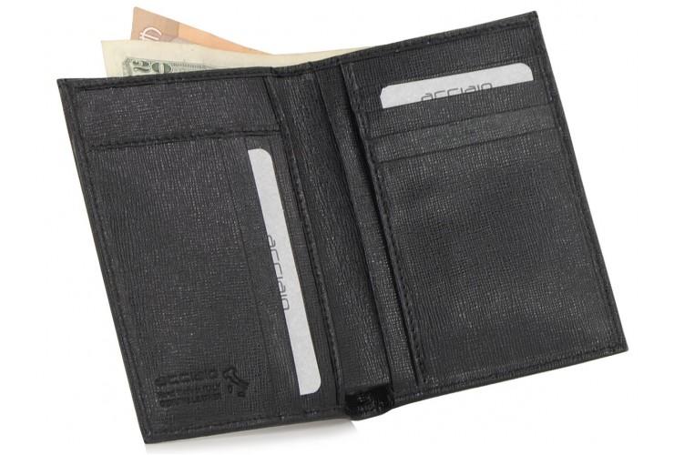 Man's vertical wallet saffiano leather Black