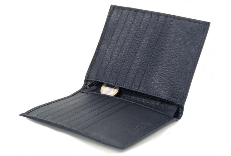 Portafoglio verticale uomo in pelle saffiano con 14cc e zip monete Blu
