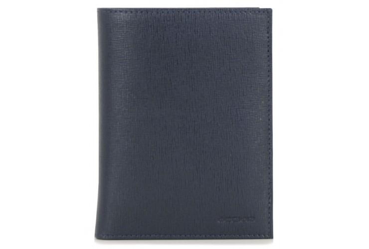 Vertical men's wallet in leather 14cc zip coin pocket Blue