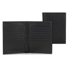 Vertical men's wallet in leather 14cc zip coin pocket Black