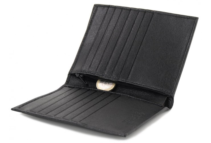 Vertical men's wallet in leather 14cc zip coin pocket Black