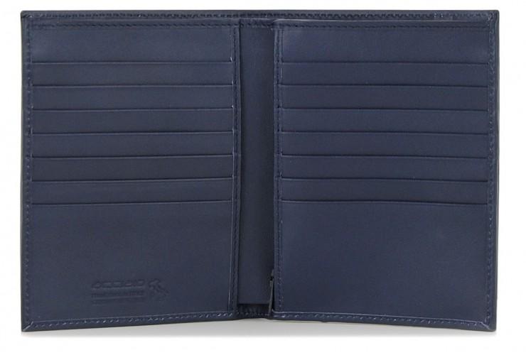 Portafoglio verticale uomo in pelle con 14cc e zip monete Blu