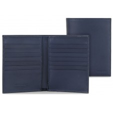 Vertical men's wallet in leather 14cc zip coin pocket Blue