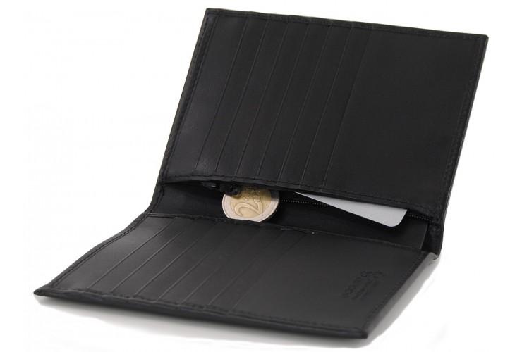 Portafoglio verticale uomo in pelle con 14cc e zip monete Nero