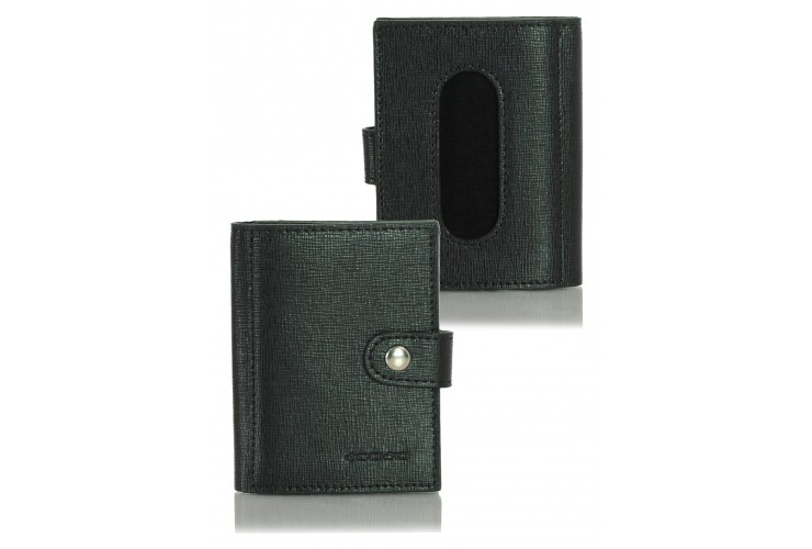 Mini wallet card sleeve leather saffiano Black