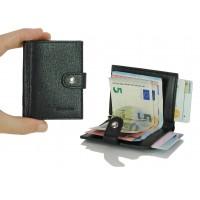 Portafoglio mini porta credit card con gancio/molla fermasoldi in pelle saffiano Nero