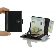 Portafoglio mini porta credit card con gancio/molla fermasoldi in pelle Nero