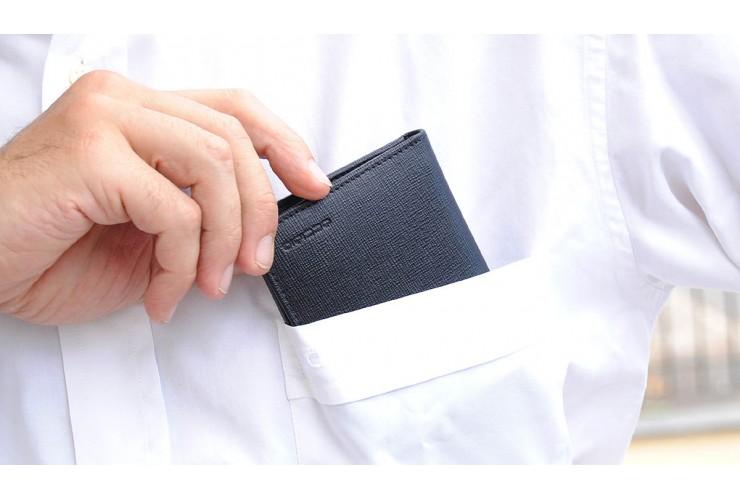 Portafoglio uomo mini portamonete 3cc in pelle saffiano Nero