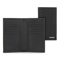 Vertical Long men's wallet 12 cards zip braided leather Black