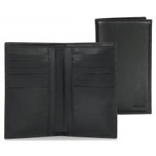 Vertical Long men's wallet in leather 12 cards zip Black