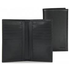 Portafoglio verticale uomo in pelle con 12cc e zip Nero