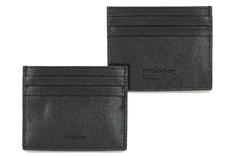 Porta carte di credito piatto 6cc da taschino in pelle saffiano Nero