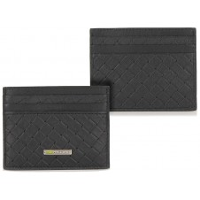Card Sleeve slim wallet braided leather Black