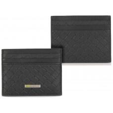 Porta carte di credito piatto 6cc da taschino in pelle intrecciata versus Nero