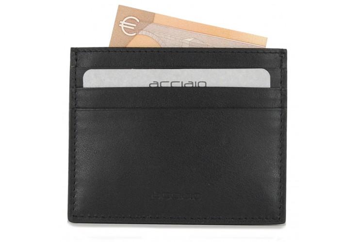 Porta carte di credito piatto 6cc da taschino in pelle Nero
