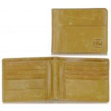 Herren Portmonee 8 kreditkartenfächer aus büffelleder Beige/Sesam