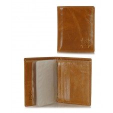 Men's small wallet full-leather multiple cards Cognac/Amber