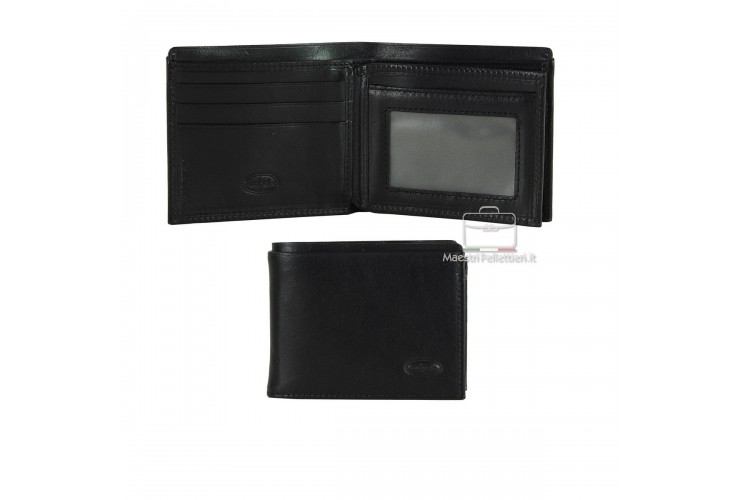 Men's small leather wallet with flap 10 cards - Italian vegetable leather black