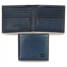Men's small pocket wallet, 8 cards - Italian vegetable blue leather