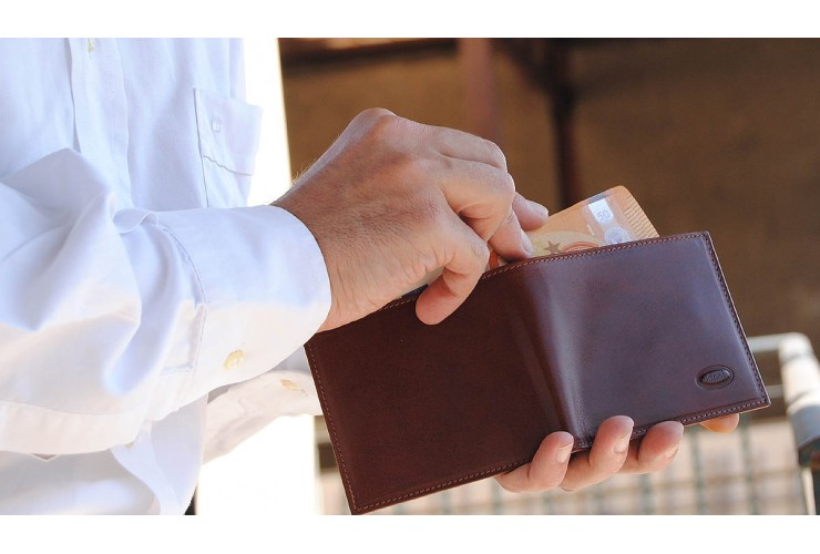 Herren mini Portmonee 6 Kreditkartenfächer, pflanzlich gegerbt leder braun