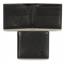 Men's small pocket wallet, 8 cards - Italian vegetable black leather