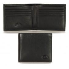Herren mini Portmonee 8 Kreditkartenfächer, pflanzlich gegerbt leder schwarz