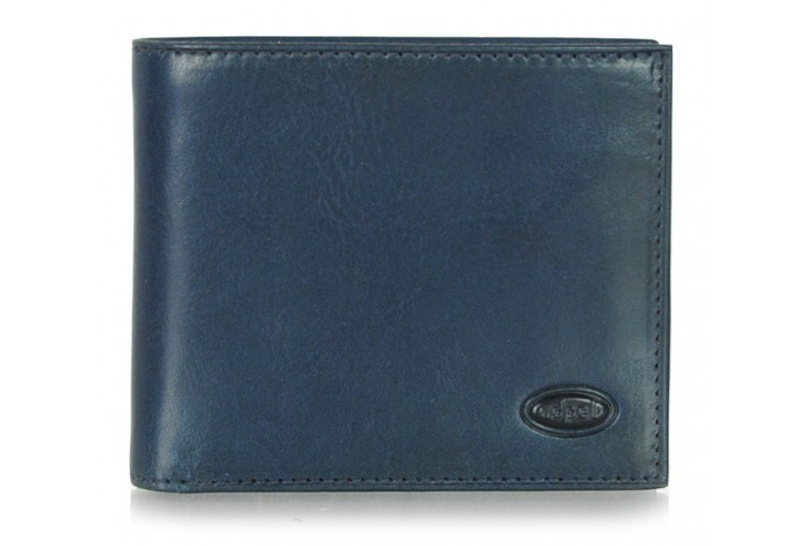 Men's leather small wallet, handy coinholder 8 cards mem-card - Italian vegetable blue leather