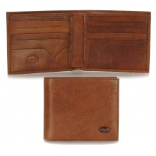 Men's leather small wallet, handy coinholder 8 cards mem-card - Italian vegetable brown leather