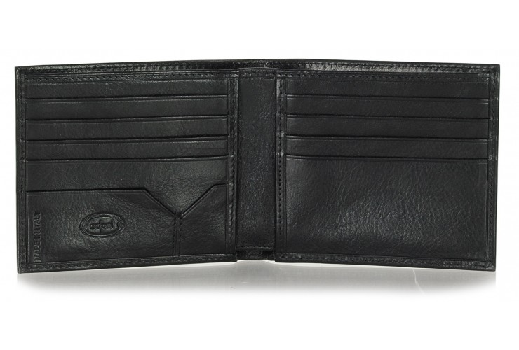 Men's leather small wallet, handy coinholder 8 cards mem-card - Italian vegetable black leather