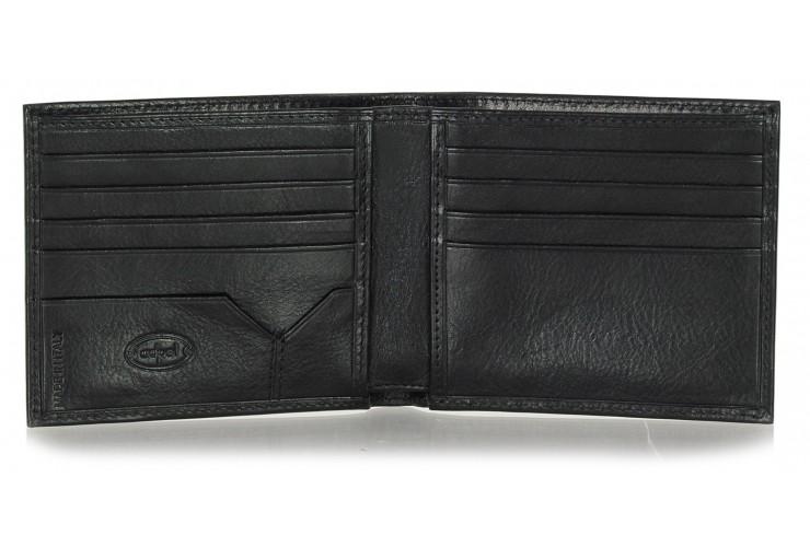 Herren kleine Portmonee 8 Kreditkartenfächer, pflanzlich gegerbt leder schwarz