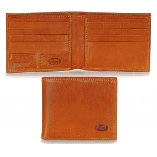 Men's leather small wallet, handy coinholder 8 cards mem-card - Italian vegetable Cognac Maui leather