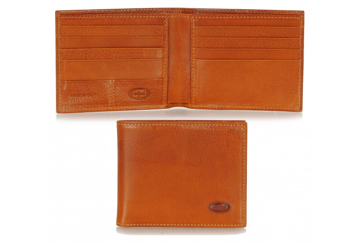 Men's leather small wallet, handy coinholder 8 cards mem-card - Italian vegetable Cognac Maui leather