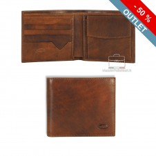 Men's small leather wallet, handy coin holder 4 cards Italian vegetable leather Brown
