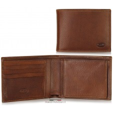 Men's leather wallet with coin box - Italian vegetable leather Brown
