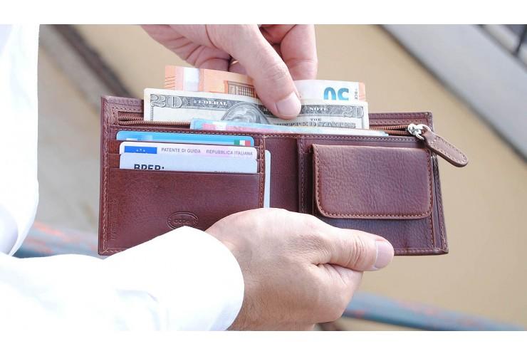 Herren Portemonnaie mit reißverschluss münzfach aus pflanzlich gegerbt leder Braun