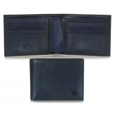 Portafoglio uomo 8cc documenti identità, pelle Toscana Vegetale Blu