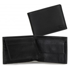 Men leather bifold wallet, coin 7 cards ID docs flap - Italian vegetable leather Black