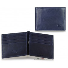 Men's leather dollarclip spring wallet, mini wallet 6 cards - Italian vegetable leather Blue