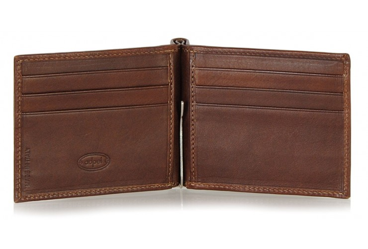 Men's leather dollarclip spring wallet, mini wallet 6 cards - Italian vegetable leather Brown