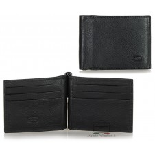 Men's leather dollarclip spring wallet, mini wallet 6 cards - Italian vegetable leather Black