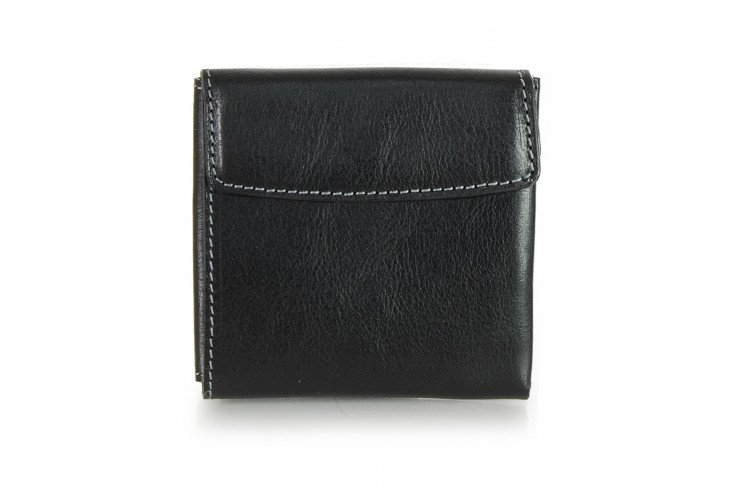 Compact mini wallet with coinpocket - italian vegetable leather Black