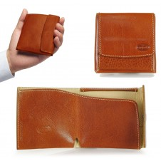 Compact mini wallet with coinpocket - italian vegetable leather Cognac