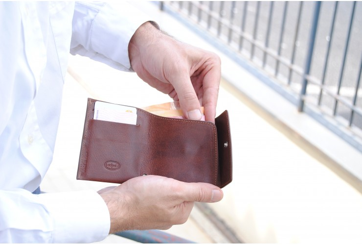Mini wallet with coinpocket and 2 cards - Italian vegetable leather
