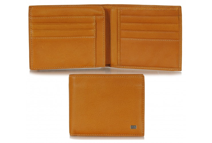 Men's wallet in soft Honey calfleather with flap coinpocket 7cc