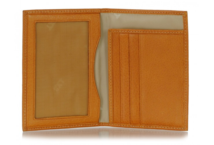 Men's slim wallet, 3 cards and IDs, in Italian vegetable leather Honey