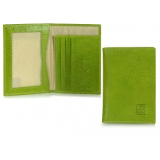 Men's slim wallet, 3 cards and IDs, in Italian vegetable leather Green