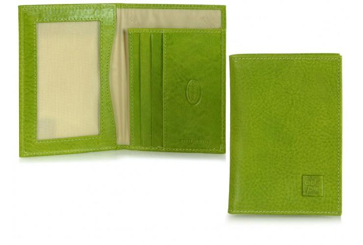 Ausweisetui portmonee 3 kreditkarten + 2 fächer, pflanzlich gegerbt leder Grün